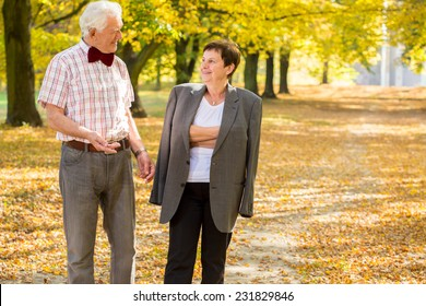 Elderly cheerful couple and morning autumn walk in park