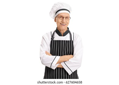 Elderly chef with his arms crossed isolated on white background
