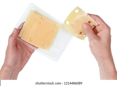 Elderly cook man with hands get a flat piece of yellow cheese from a standard plastic package. Isolated on white top view shot studio shot