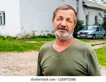 An elderly country man. Real people. Russia
