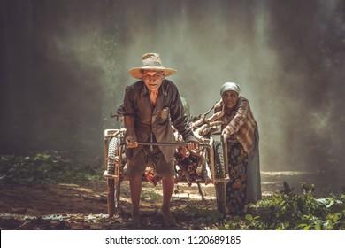 Elderly couple asian farmer family longer than 70 years
