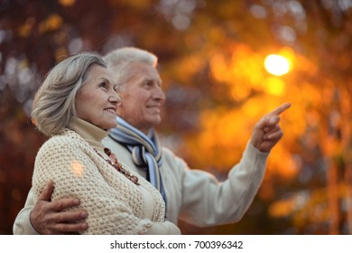 elderly couple in autumnal forest