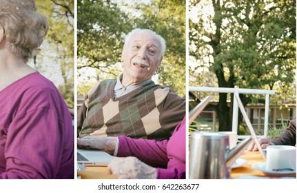 Elderly couple having breakfast in the garden.