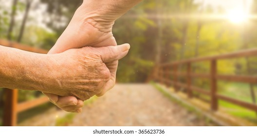 Elderly couple holding hands against bridge with railings leading towards forest