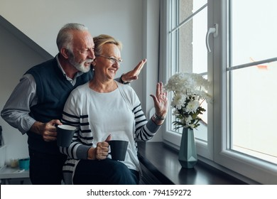 Elderly couple looking out the window