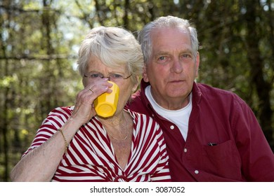Elderly couple outdoors on a summer day having a little picnic