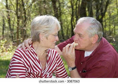 Elderly couple at a picnic in the forest