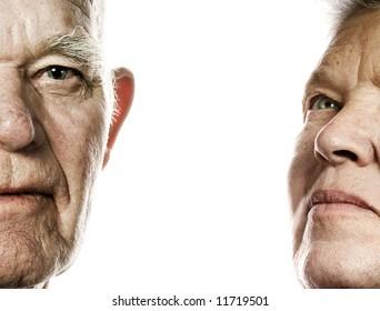 Elderly couple portrait. Isolated on white background