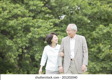 The elderly couple taking a walk in the park with their arms folded