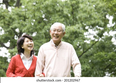 The elderly couple taking a walk in the park