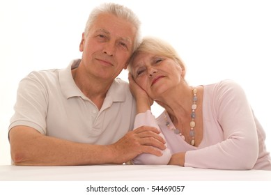 elderly couple together on a white background