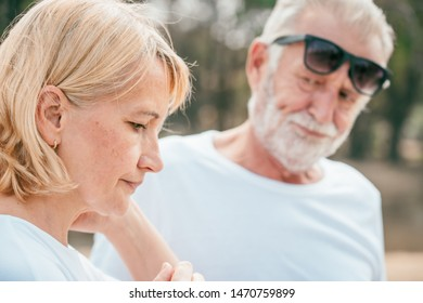 Elderly couple upset in the park from problem quarrel. relationship problems concept