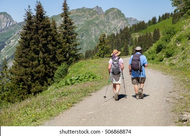 Elderly couple are walking in mountains, France