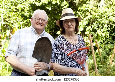elderly couple working in urban garden