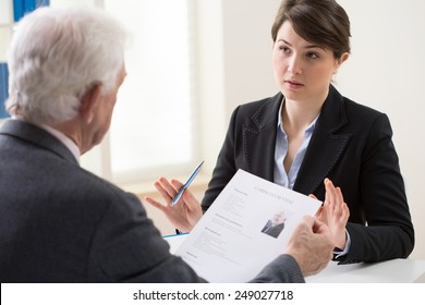 Elderly elegant man on his recruitment meeting