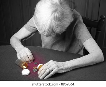 elderly frail woman not having enough money for her medication