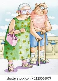 elderly funny couple walks in coast, they have the satisfied expression