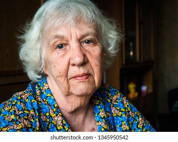 Elderly gray woman face
