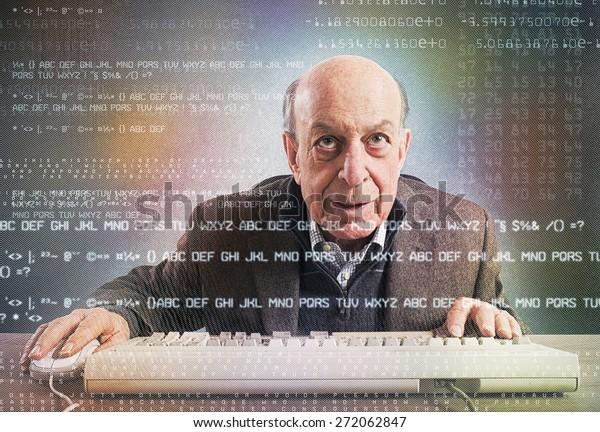 Elderly hacker nerd makes an antivirus test