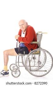 elderly handicap man in wheelchair
