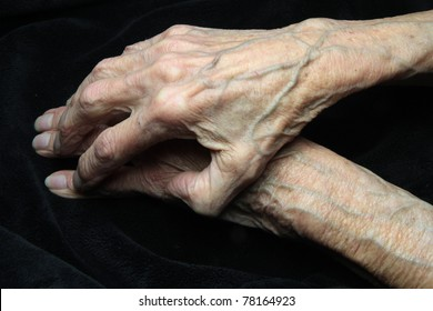 elderly hands of a woman