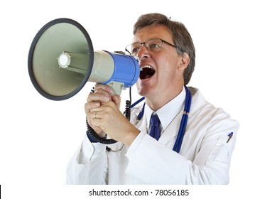 Elderly handsome Doctor shouts loudly in megaphone. Isolated on white background.