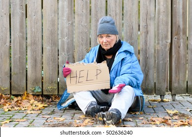 Elderly homeless woman begging on the street in cold autumn weather sitting on a cobbled sidewalk with a hand written sign - Help - on hardboard