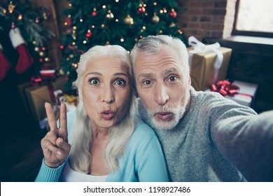 Elderly husnabd wife. Self-portrait of nice adorable beautiful cheerful married spouses wife husband granny and grandpa eve noel december in house showing v-sign pouted lips air blow kiss fun joy