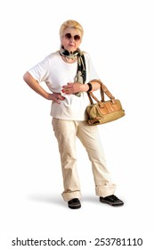 elderly lady with a bag and sunglasses