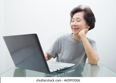 Elderly lady working with laptop .