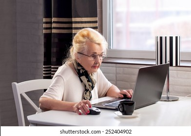 elderly lady working on the computer