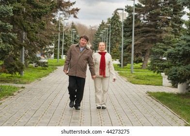 Elderly loving couple in the winter during rest.