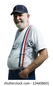 Elderly man laughing on white background