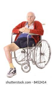 elderly man with leg amputation vertical