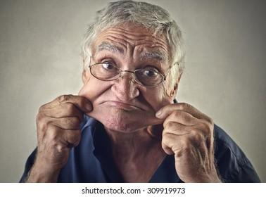 Elderly man making jokes