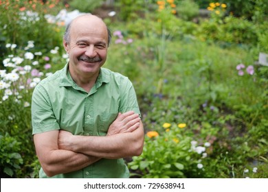 An elderly man with a mustache and a bald spot in a green T-shirt is standing among flowers in the summer garden, arms crossed and smiling. Relax in the summer from the hustle and bustle of nature.