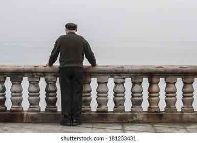 Elderly man oceanfront