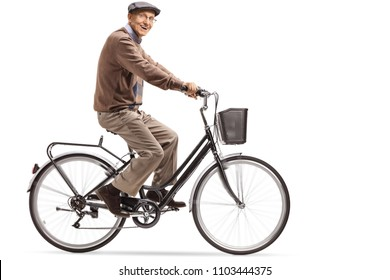 Elderly man riding a bicycle isolated on white background