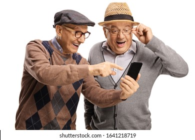 Elderly man showing a mobile phone to another man and smiling isolated on white background