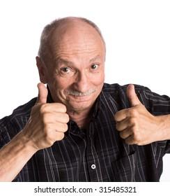 Elderly man showing ok sign on a white background
