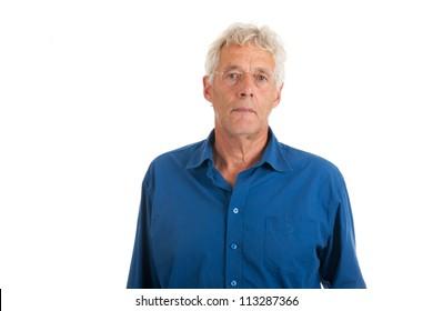 elderly man in studio isolated over white background