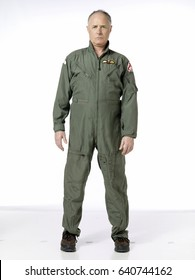 Elderly man wearing an Air Force costume; isolated on white
