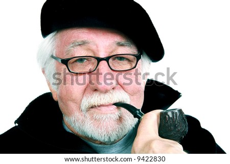 bf31690b8fe98 Elderly Man Wearing Beret Smoking Pipe Stock Photo (Edit Now ...