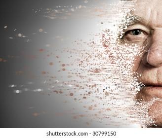 Elderly man's face falling apart. Aging concept