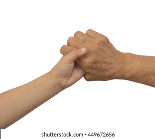 Elderly old woman hand holding  hand of a kid child woman with path.