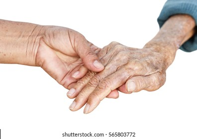 Elderly people holding hands together isolated