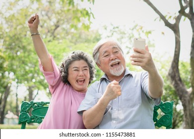 elderly people lifestyles and communication technology. Happy grandparent using tablet video call and talking with family in the park.