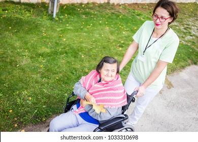 Elderly people in park together