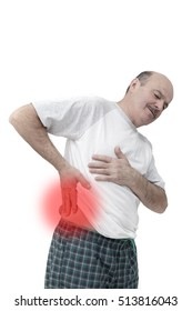 Elderly people suffering from pains in small of the back: kidney stones or neuralgia