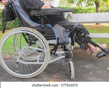 elderly person in his wheelchair in the hospice